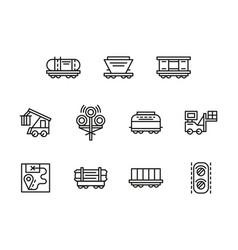 railroad logistics black line icons set vector image vector image