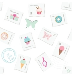 Seamless pattern background with postage stamps vector image vector image