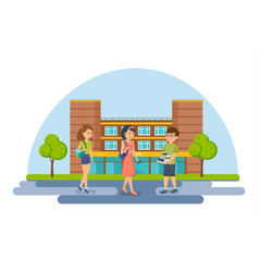 students and pupils on background university vector image vector image