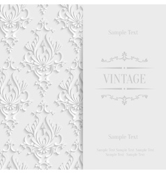 White 3d Vintage Invitation Card with vector image vector image