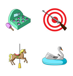 a game with a bat a target with a gun a horse on vector image vector image