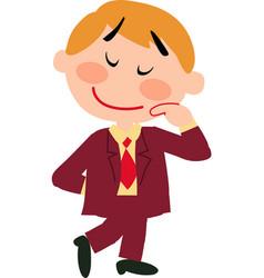 Boy dressed like a businessman shy vector