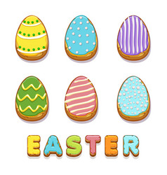 colored biskvit cookies eggs happy easter vector image