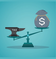 concept balancing with income and tax vector image vector image
