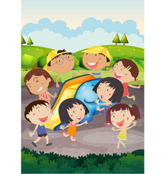 happy children playing slide in park vector image