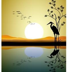 heron silhouette on lake vector image
