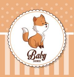 baby shower card invitation greeting cute fox vector image