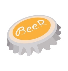 Beer bottle cap cartoon icon vector image