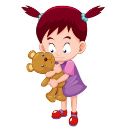 Girl Hugging teddy bear vector image vector image