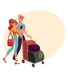 Man and woman travelling together going on vector image vector image