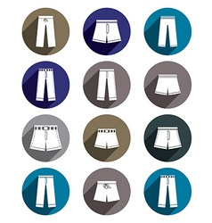 Man jeans and shorts icon set vector image
