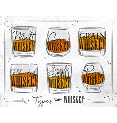 poster types whiskey paper vector image
