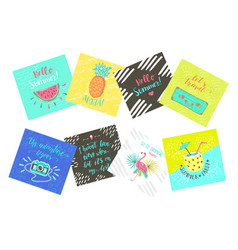 Set of summer color hand-lettering labels and vector