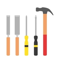Set of wood processing tools hand equipment vector image vector image