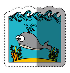 Sticker colorful water landscape with whale animal vector