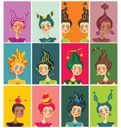 zodiac sign girls vector image vector image