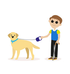 guide-dog blind boy with guide dog disability vector image