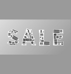 sale banner made up from realistic different vector image