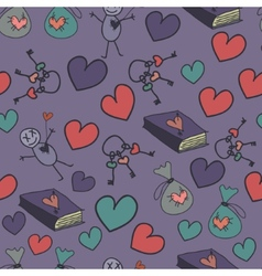Seamless background with hearts books and keys vector image