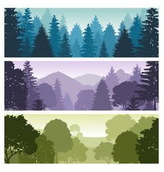 silhouette forest panorama skyline with pine trees vector image
