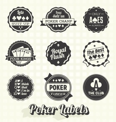 Vintage Poker Labels vector image vector image