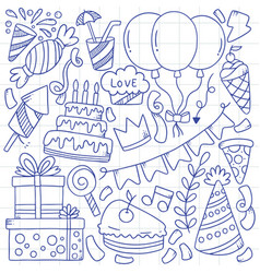07-09-012 hand drawn party doodle happy birthday vector