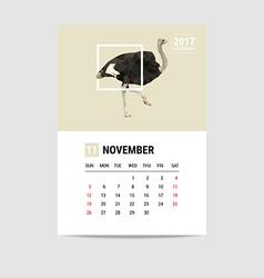 2017 november calendar ostrich polygon vector