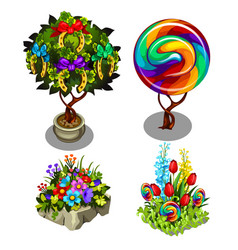 a set of bright ornate plants and flowers isolated vector image