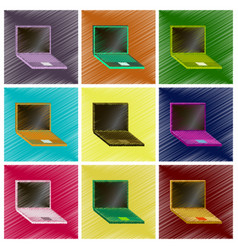 Assembly flat shading style icons laptop vector
