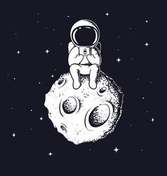 Astronaut keeps smartphon vector