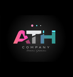 ath a t h three letter logo icon design vector image