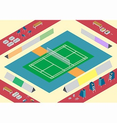 Badminton court stuffs vector
