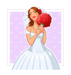 Beautiful bride with bunch of vector