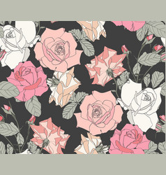 beautiful fabric blooming realistic flowers vector image