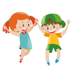 boy and girl with happy face vector image