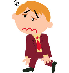 Boy dressed like a businessman dizzy vector