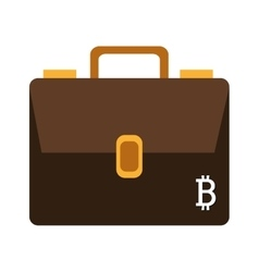 Brown briefcase with white bitcoin signal vector