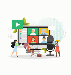 business people holding video conference online vector image