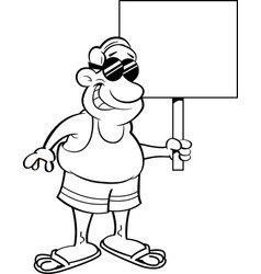 Cartoon man wearing a swimsuit and holding a sign vector