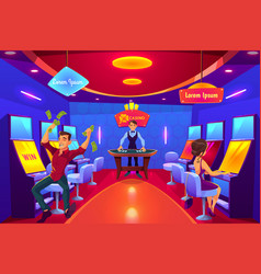 casino clients in gambling hall cartoon vector image