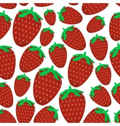 colorful red strawberries fruits seamless pattern vector image