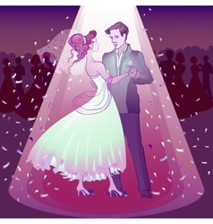 Couple dancing wedding dance in the spotlight vector image