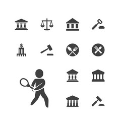 Court icons vector