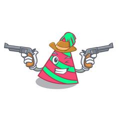 Cowboy party hat character cartoon vector