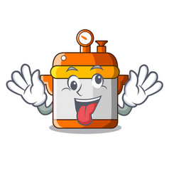 Crazy electric pressure cooker isolated on mascot vector