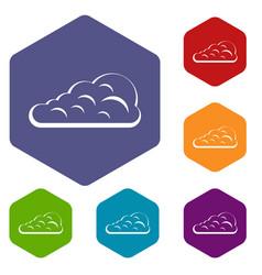 Cumulus cloud icons set hexagon vector