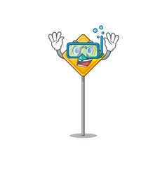Diving u turn sign shaped cartoon vector