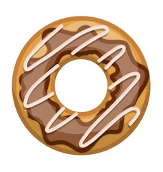 donut with chocolate glazed colorful silhouette in vector image