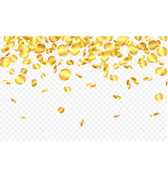 falling from top a lot gold coins on vector image