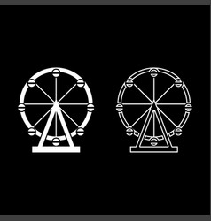 ferris wheel amusement in park on attraction icon vector image